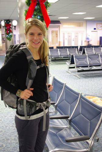 Caroline with her backpack