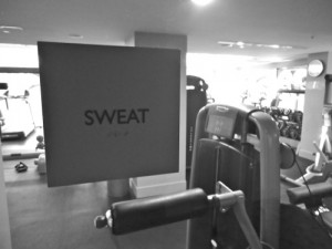 sweat sign at gym