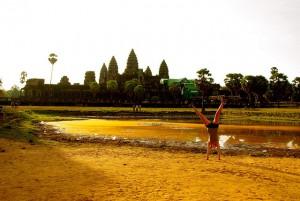 cartwheel in front of angkor wat