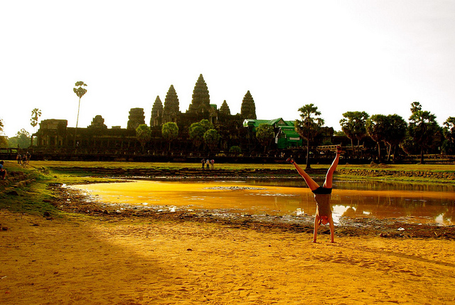 cartwheel in front of angkor wat