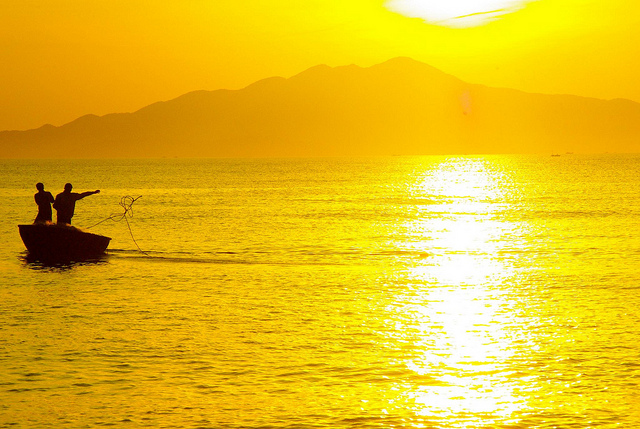 fishing at sunrise in hoi an