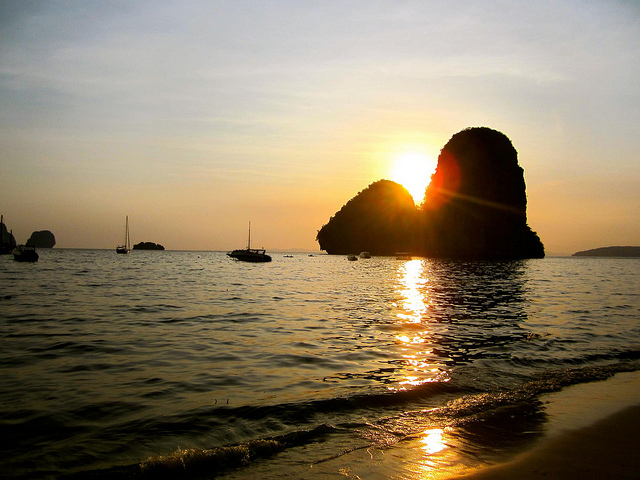 sunset over railay