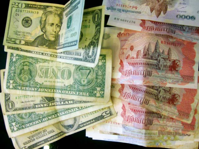 Cambodian currency, riel and USD