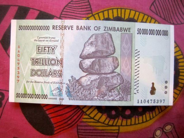 Zimbabwe 50 trillion dollar bill