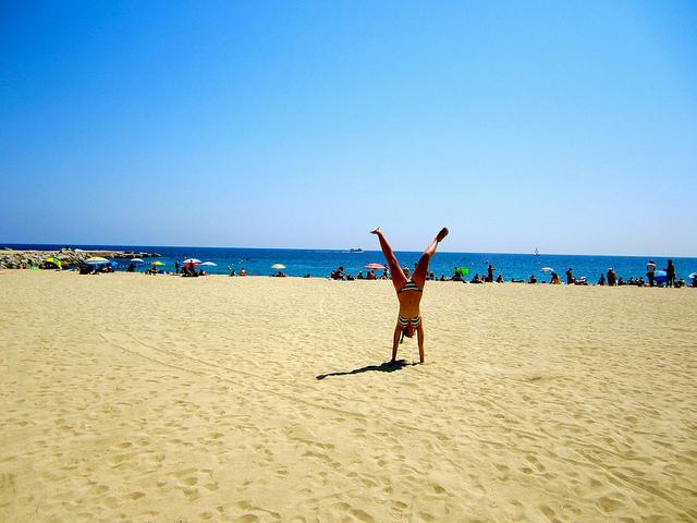 cartwheel-on-barcelona-beach