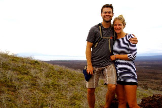 Josh and Caroline on a mountain in Galapagos