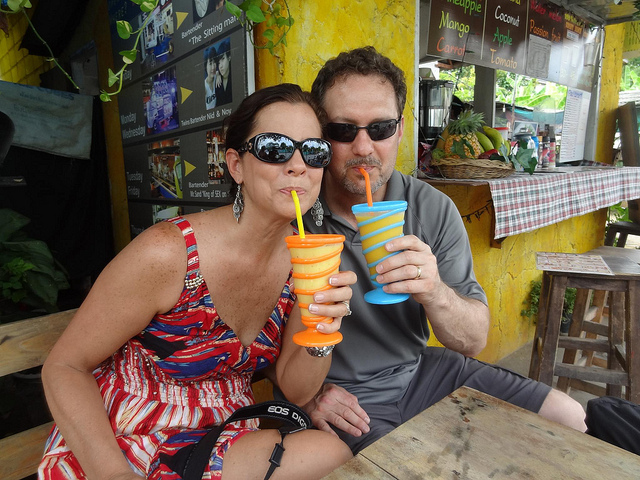 Mom and dad with their smoothies