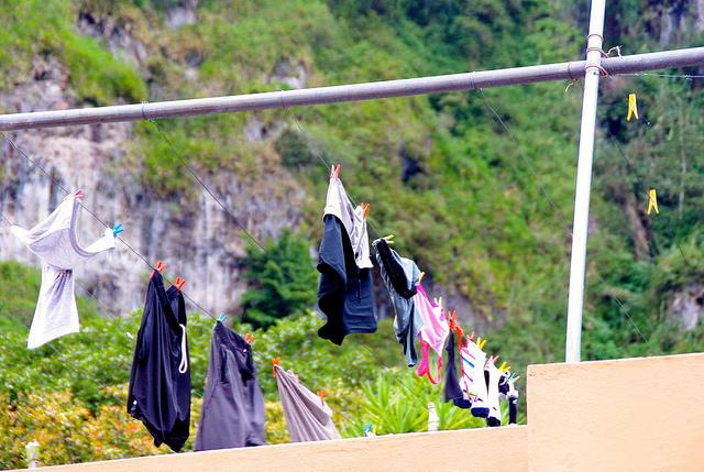 Our clothes hanging in Banos ecuador