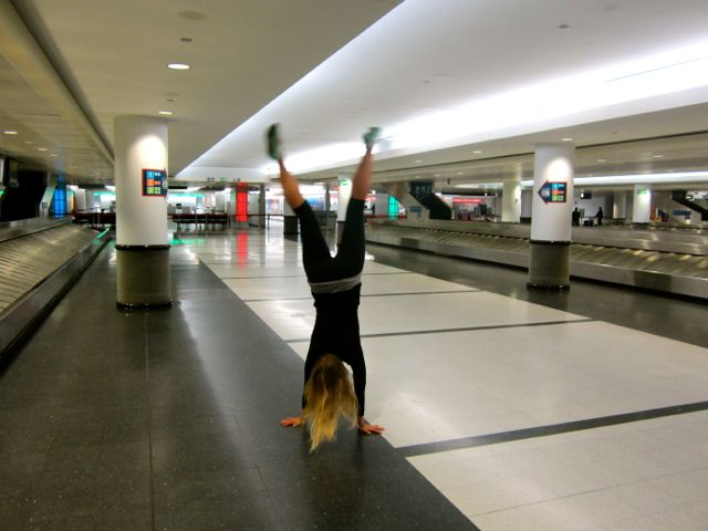 Care cartwheeling at O'Hare