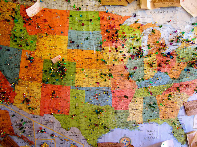Map of the USA with pins all over
