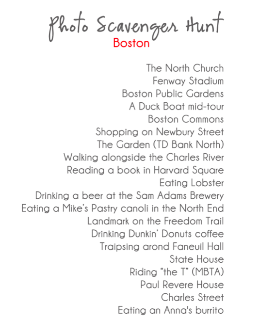 boston photo scavenger hunt