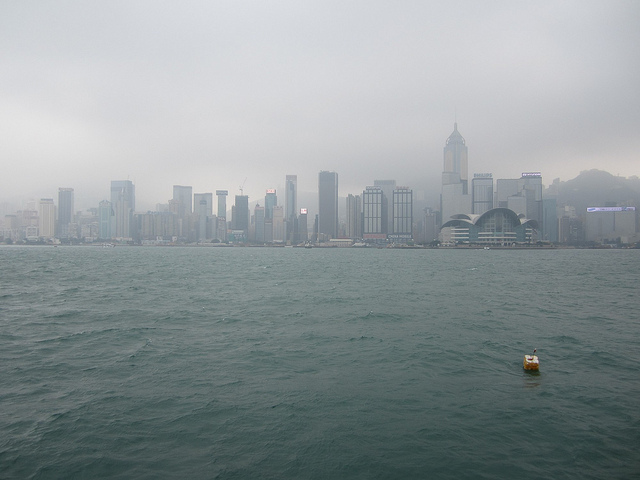 hong kong skyline, fog