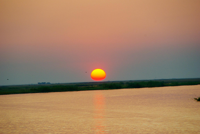 sunset in botswana africa