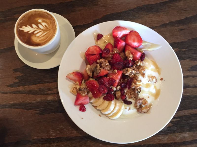 Fido Yogurt Parfait and coffee