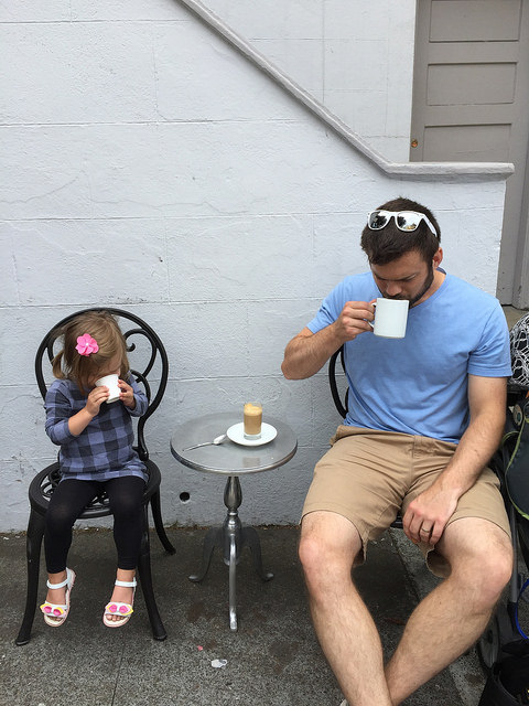 coffee, travel with toddlers